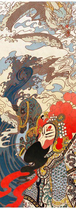 Warrior and dragon - Mochi's Art Studio