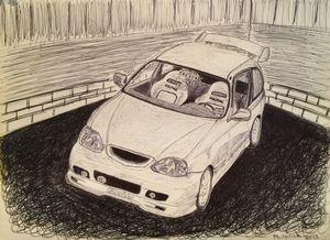 Honda Civic EK Hatch ink drawing