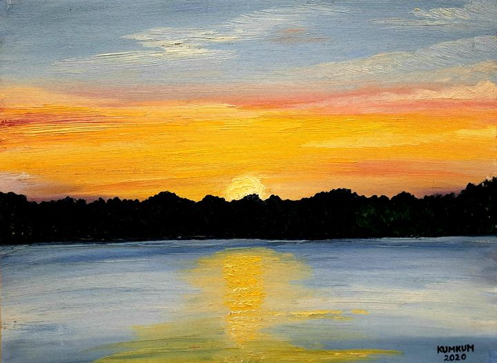 Sunset by the Riverside - Kumkum's Art