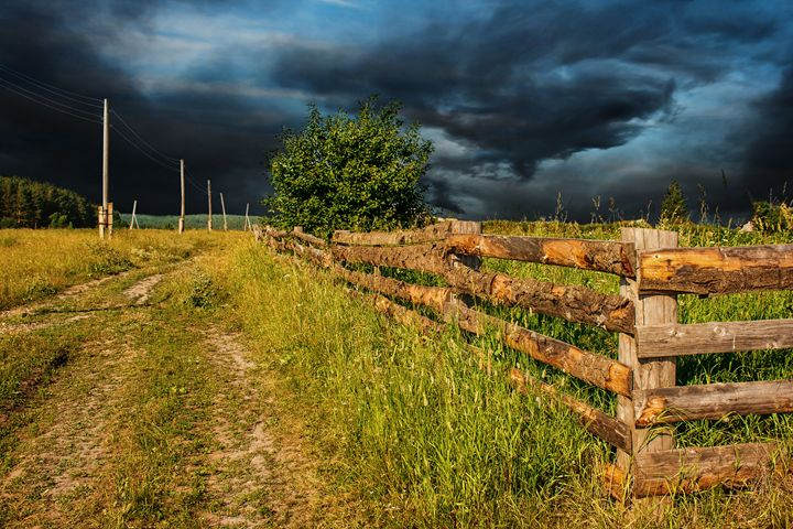 rural landscape with a stormy sky - Radomir