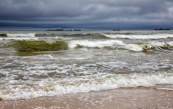 stormy baltic sea with ships - Radomir