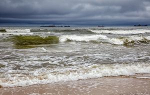 stormy baltic sea with ships