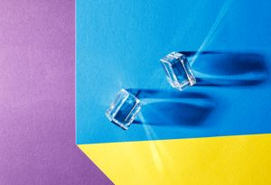 two glass cubes on the table