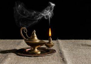 burning magic lamp of aladdin