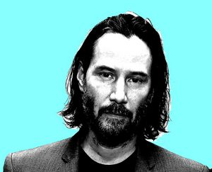 Keanu Reeves turquoise background - tarama art