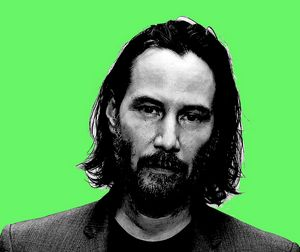 Keanu Reeves green background - tarama art