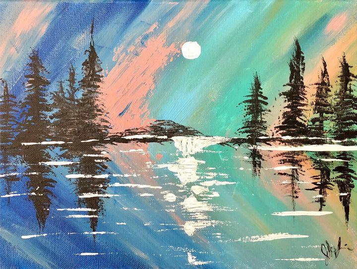 Moonlit Skies - Acrylic - Art by Julia