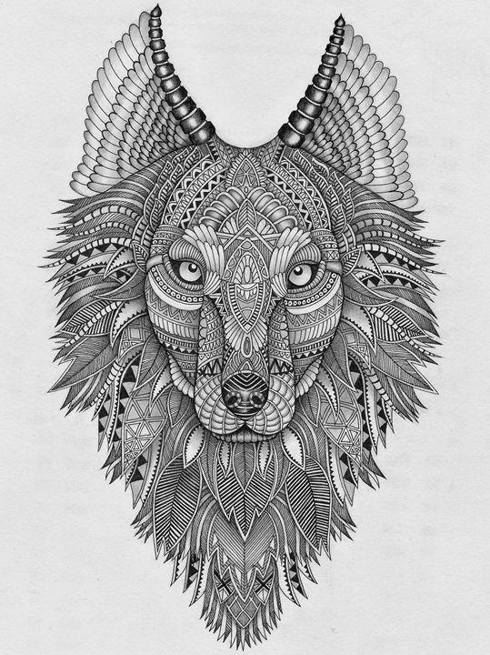 Zentangle Wolf - Selinas Artwork