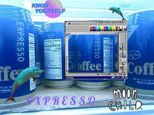 Vaporwave blue coffee can aesthetic