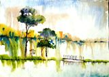 river scape,water color,original wor
