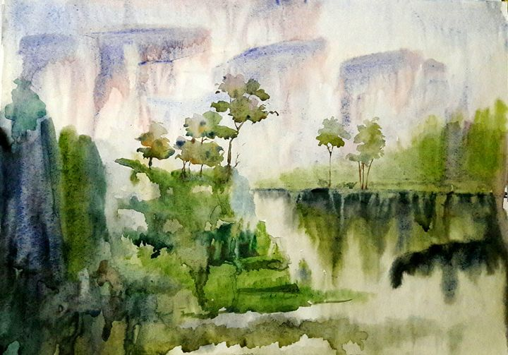river scape,warter color - sumon's gallery