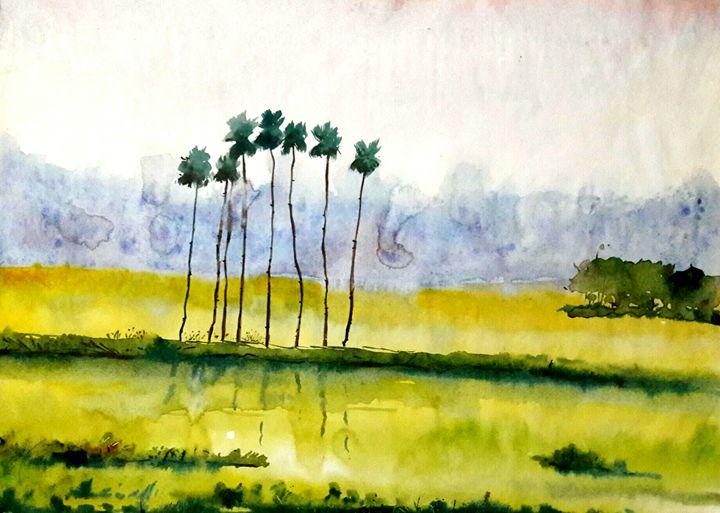 village scape,water color - sumon's gallery
