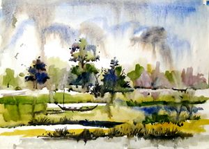 riverscape,watercolor