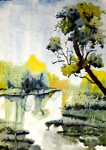 river scape,watercolor