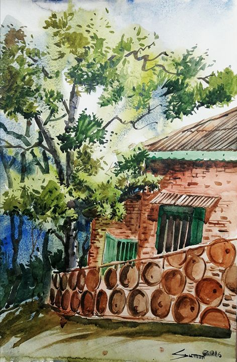 house of pahartoli,water color on pa - sumon's gallery