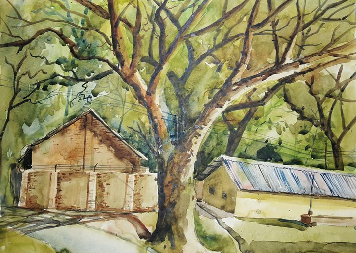 road side of pahartoli,water color - sumon's gallery