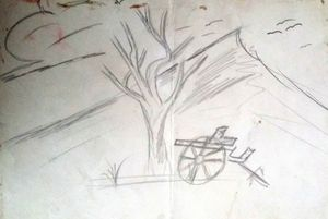 wagon and tree
