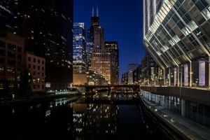 Chicago River scene at dusk