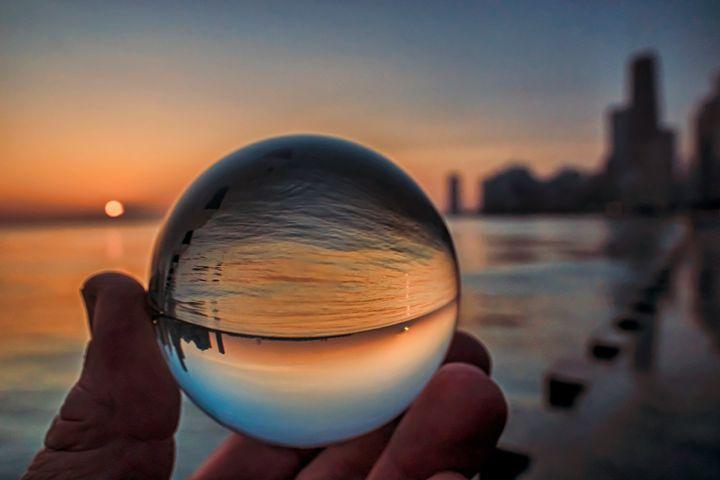 Chicago skyline though a glass ball - Sven Brogren Photography