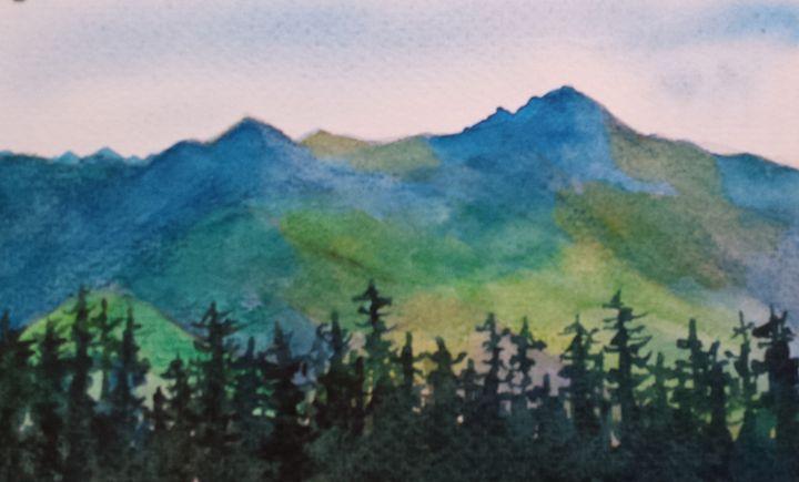 Mountain With Trees - Roxanne Morris