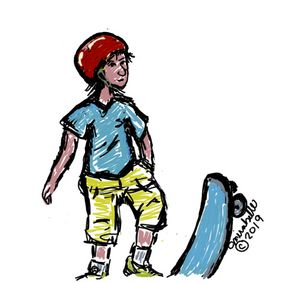 Kid with skateboard