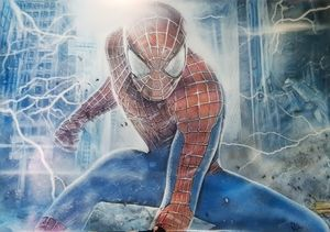 Spiderman airbrushed on poster paper