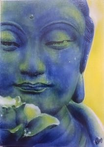 Buddha airbrushed on A3 sized canvas