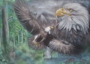 Mountain Eagles Airbrushed on Card.