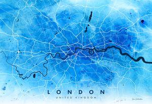 Watercolour London Map Giclée Print - Art of the Map