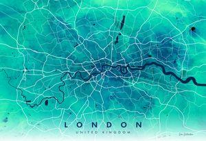 Watercolour London Map Giclée Print