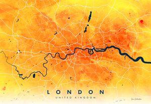 Watercolour London Map, Giclée Print