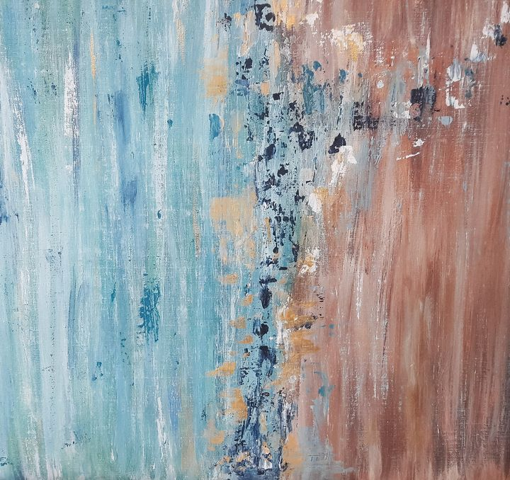 Blue and Brown acrylic abstract - Mdecor