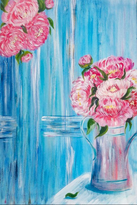 Peonies in a watering pot - Mdecor