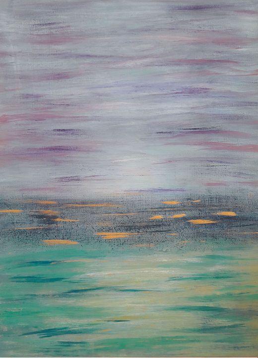 Blue & Mint Abstract ''Ocean'' - LanaArtPal