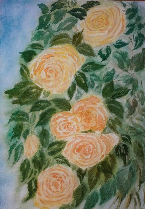 Watercolor '' Orange roses'' - LanaArtPal