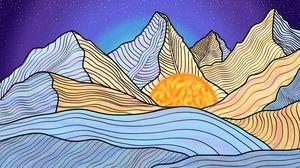 Watercolor Mountain, Midnight Sun