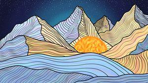 Watercolor Mountain, Night