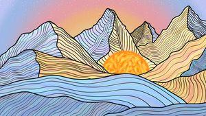 Watercolor Mountain, Dawn