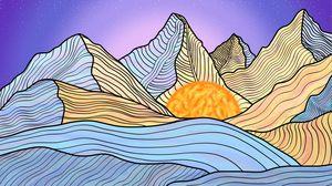 Watercolor Mountain, Dusk