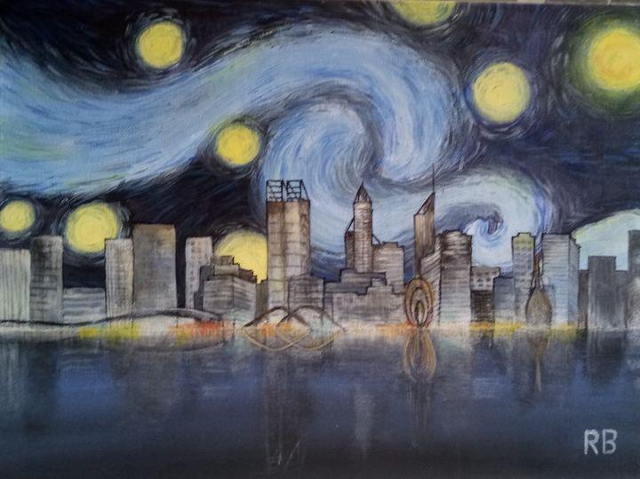 Perth skyline a la Van Gogh - RB