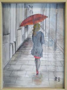 Urban red umbrella