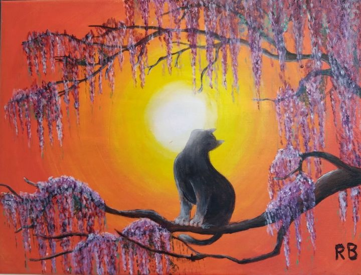 Grey cat in the moon with wisteria - RB