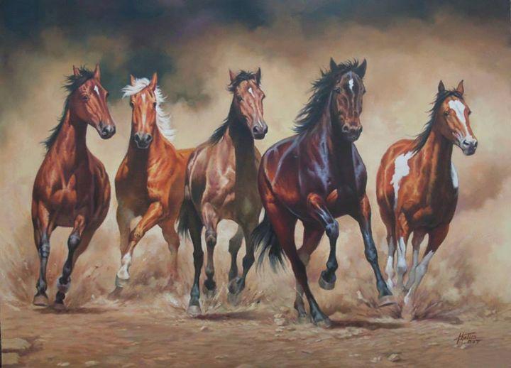 Running Horses - Altaous Art Studio