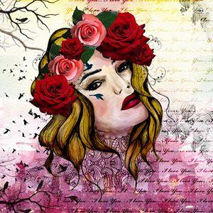 Mixed media floral girl