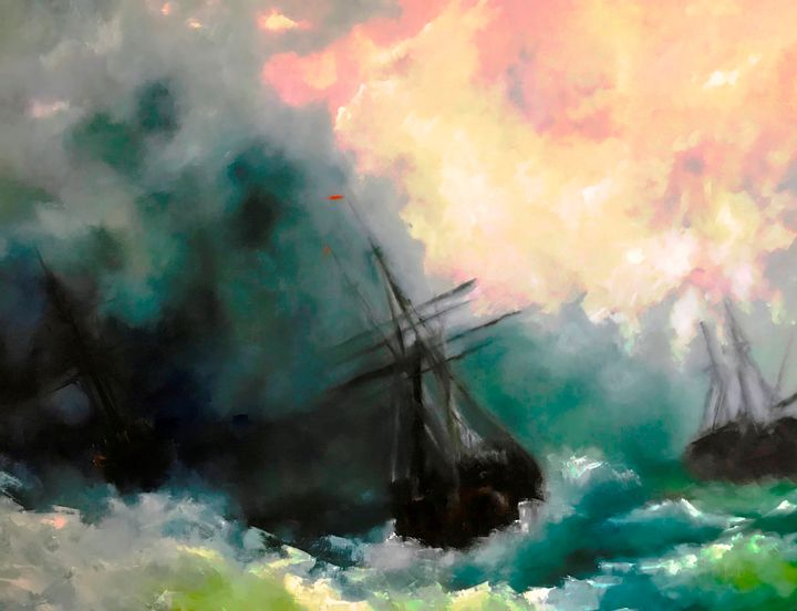 Battle at Sea - Paintings by Frederick Lyle Thrauthemburg Morris