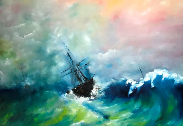 The Sinking of the Jamestown - Paintings by Frederick Lyle Thrauthemburg Morris