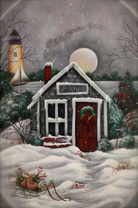 """""""Seaside Winter 2"""" By:Randa Hitchner - Somewhere In Time Paint Mixers"""