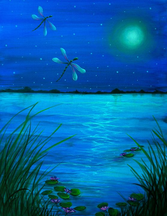 """Dragonflies flight by Moonlight"" - Somewhere In Time Paint Mixers"