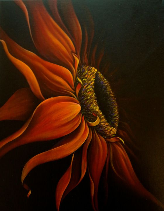 """Red Sun Flower"" Randa Hitchner - Somewhere In Time Paint Mixers"