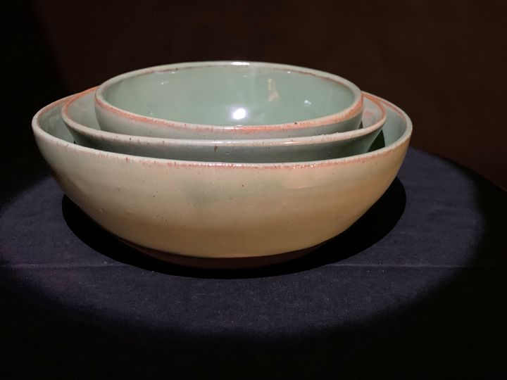Green nesting bowls - L.Dove Pottery